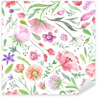 Pixerstick Sticker Bright vintage waterverf Summer Pattern