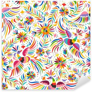 Sticker Pixerstick Broderie mexicaine seamless. motif ethnique coloré et fleuri. Les oiseaux et les fleurs fond clair. fond floral avec ornement ethnique lumineux.