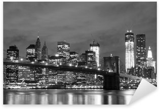 Brooklyn Bridge and Manhattan Skyline At Night, New York City Sticker - Pixerstick