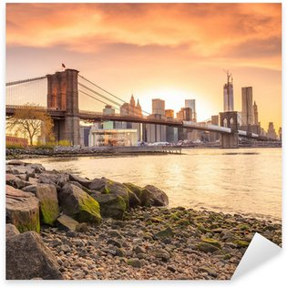 Brooklyn Bridge at sunset Sticker - Pixerstick