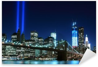 Sticker Pixerstick Brooklyn Brigde et les tours des lumières, New York City