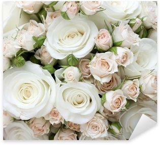 Pixerstick Sticker Bruiloft boeket van pinkand witte rozen