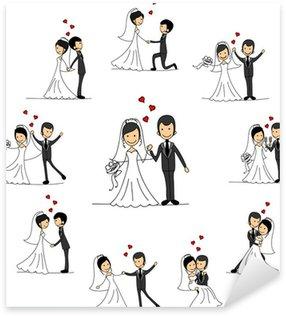 Pixerstick Sticker Bruiloft stripfiguren - de bruid en bruidegom