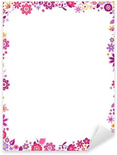 Sticker Pixerstick Cadre de frontière de motif floral