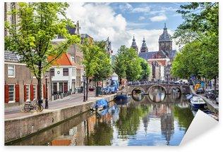 Pixerstick Sticker Canal en St. Nicolaaskerk in Amsterdam