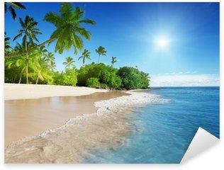 Pixerstick Sticker Caribische zee en palmen