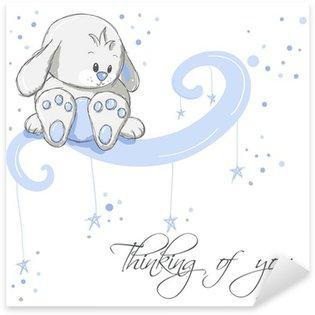 Sticker Pixerstick Carte de voeux - pensée lapin bleu de vous
