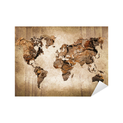 carte du monde bois texture vintage sticker pixers. Black Bedroom Furniture Sets. Home Design Ideas