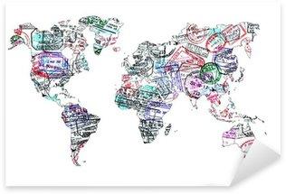 Sticker Pixerstick Carte du monde tampons de passeport, isolé
