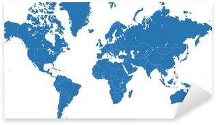 Sticker Pixerstick Carte du monde vecteur bleu avec les frontières des pays