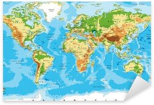 Sticker Pixerstick Carte physique du monde