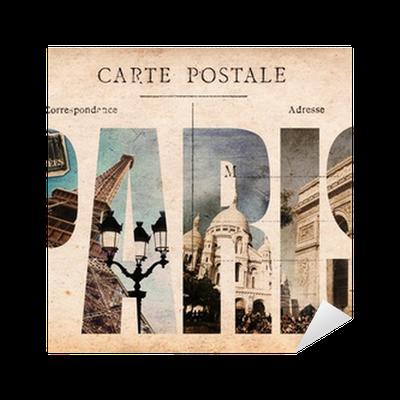 Carte postale ancienne collage monuments paris sticker for Presentoir carte postale mural