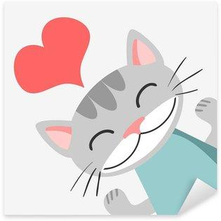 Sticker Pixerstick Carte romantique avec cute kitty