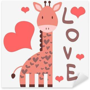 Sticker Pixerstick Carte romantique avec girafe mignonne