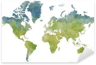 Cartina mondo, disegnata illustrata pennellate Sticker - Pixerstick