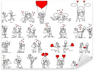 Pixerstick Sticker Cartoon bruiloft foto's