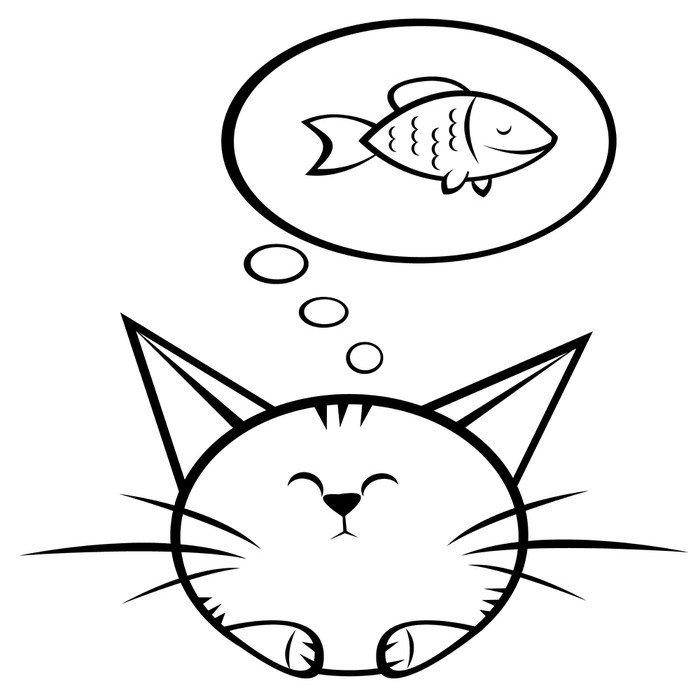 Sticker - Pixerstick Cat and fish - Destinations