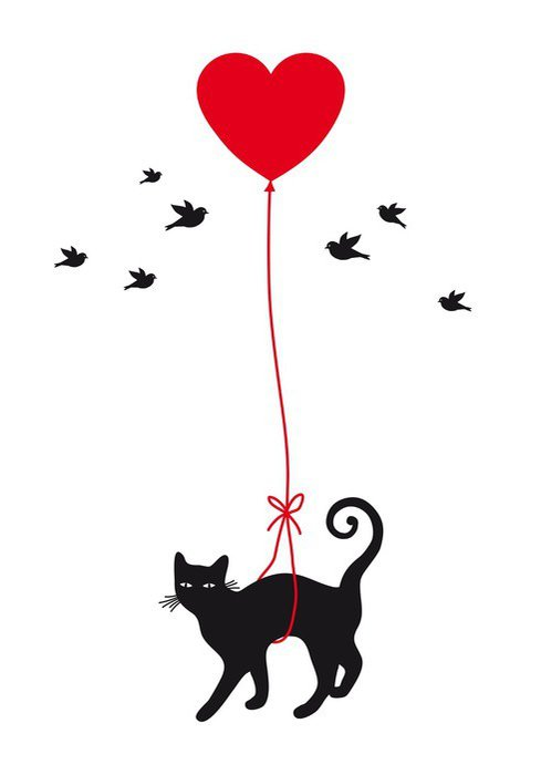 Sticker - Pixerstick cat with heart balloon, vector - Lifestyle