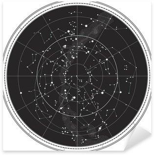 Celestial Map of The Night Sky (Astronomical Chart) Sticker - Pixerstick