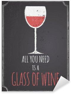 Sticker - Pixerstick Chalkboard Red Wine Design