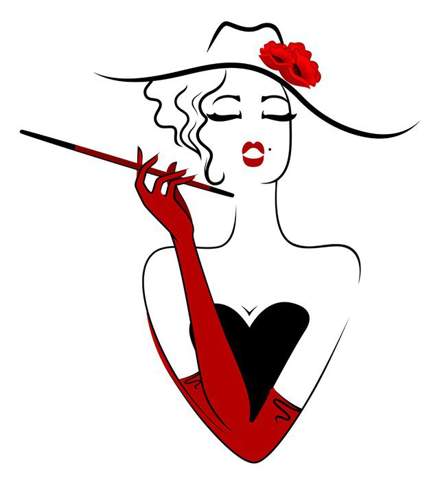 Sticker - Pixerstick Charming lady smoking cigarette - Fashion