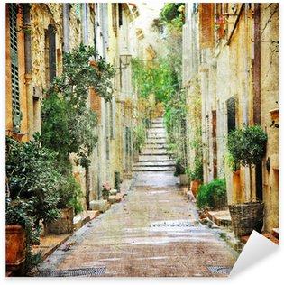 Sticker - Pixerstick charming streets of mediterranian, artistic picture