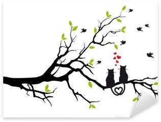 Sticker Pixerstick Chats dans l'amour sur une branche d'arbre, vecteur