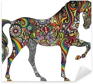 Sticker Pixerstick Cheval et Rainbow