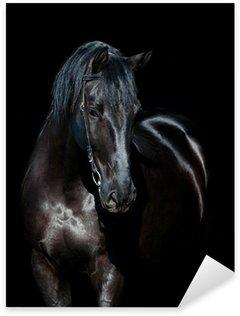 Sticker Pixerstick Cheval noir isolé sur fond noir
