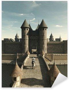 Sticker Pixerstick Chevalier médiéval d'équitation de la Porte de château