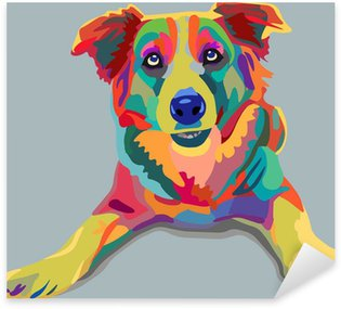 Sticker Pixerstick Chien pop-art