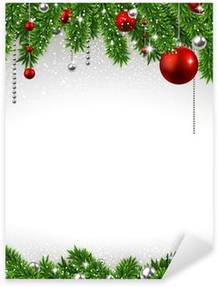 Sticker - Pixerstick Christmas background with fir branches and balls.