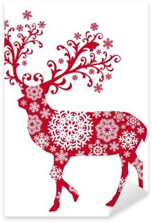 Sticker - Pixerstick Christmas deer with ornaments and snowflakes, vector