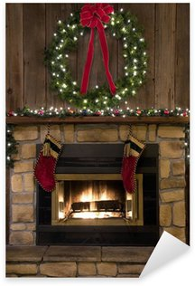 Sticker - Pixerstick Christmas Fireplace Hearth with Wreath and Stockings