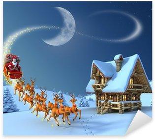 Christmas night scene - Santa Claus rides reindeer sleigh Sticker - Pixerstick