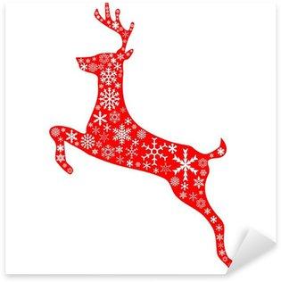 Sticker - Pixerstick christmas reindeer in red