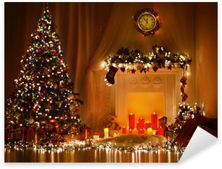 Sticker - Pixerstick Christmas Room Interior Design, Xmas Tree Decorated By Lights