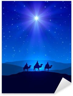 Sticker - Pixerstick Christmas star on blue sky and three wise men
