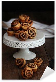 Sticker - Pixerstick Cinnamon pinwheel rolls on cake stand