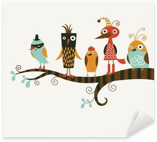 Sticker Pixerstick Cinq oiseaux drôles