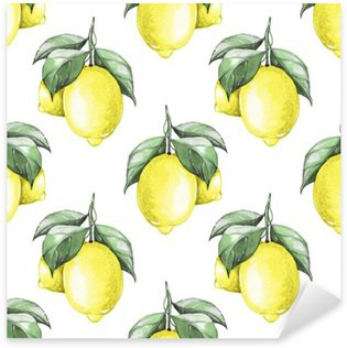 Sticker Pixerstick Citrons. Aquarelle seamless pattern 1