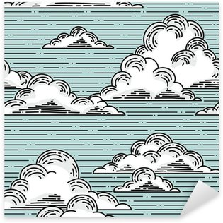 Sticker Pixerstick Clouds seamless pattern hand-drawn illustration. Vector background