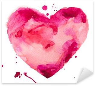 Sticker Pixerstick Coeur d'aquarelle. Concept - l'amour, les relations, l'art, la peinture
