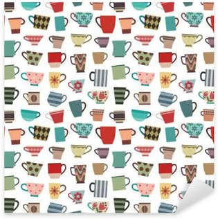 Coffee cups and mugs in various shapes and colors seamless pattern background 1 Pixerstick Sticker
