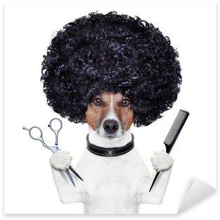 Sticker Pixerstick Coiffeur ciseaux chien de peigne