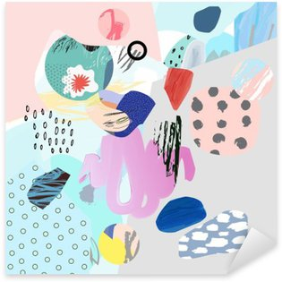 Sticker Pixerstick Collage créatif Trendy avec différentes textures et de formes. conception graphique moderne. L'œuvre insolite. Vecteur. Isolé