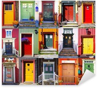 Sticker - Pixerstick Collage of doors in Røros. Norway