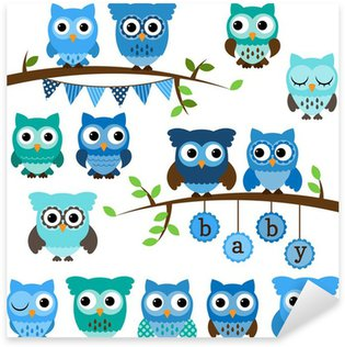 Sticker Pixerstick Collection Vecteur de Boy Baby Shower thème hiboux et les branches