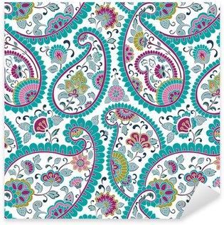 Sticker Pixerstick Coloré motif paisley floral, textile, Rajasthan, Inde