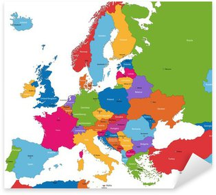 Pixerstick for All Surfaces Colorful Europe map with countries and capital cities